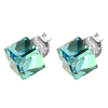 Strieborné náušnice so Swarovski elements aquamarine kocka 6