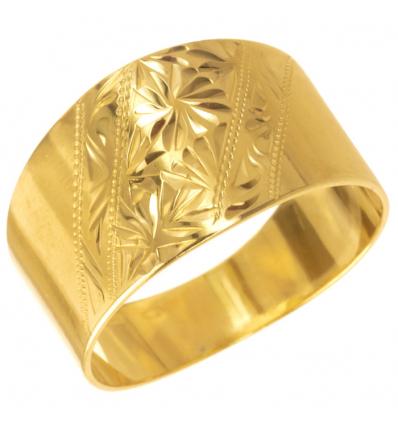Strieborný prsteň tepaný Pozlátený