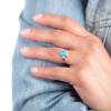 Strieborný prsteň s modrým opálom a zirkónmi