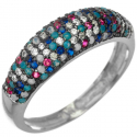 Strieborný prsteň s farebnými zirkónmi