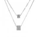 Strieborný náhrdelník dvojitý s kockami a zirkónmi 38 až 42cm