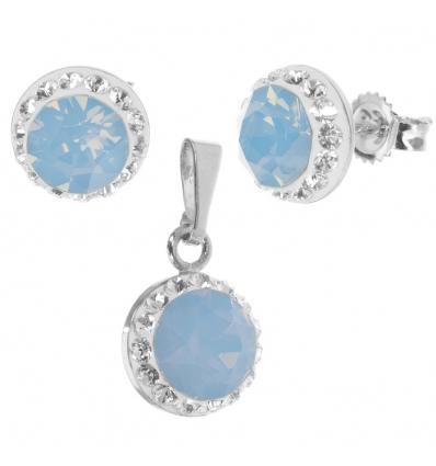 Strieborný set s krištáľmi Swarovski a blue opálom